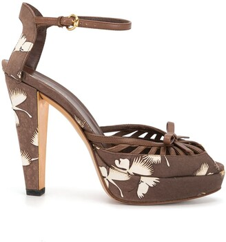 Gucci Pre-Owned Floral Print Platform Sandals
