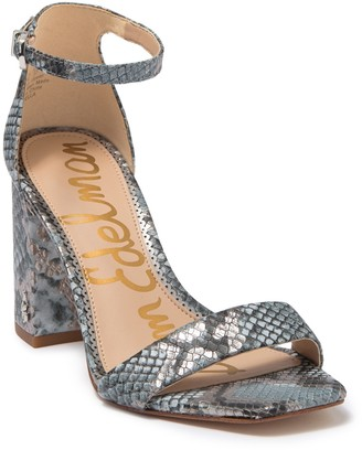 Sam Edelman Daniella Snakeskin Embossed Leather Ankle Strap Sandal