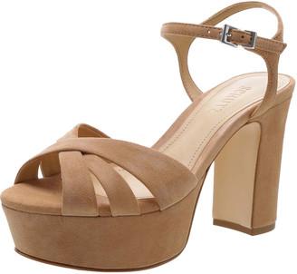 Schutz Keefa Nubuck Ankle-Strap Platform Sandals