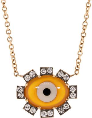 Sylva & Cie Orange Agate Evil Eye Necklace