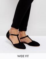 London Rebel Wide Fit Flat Tbar Shoe