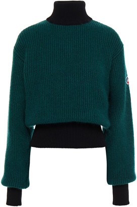 Fusalp Appliqued Two-tone Ribbed-knit Turtleneck Sweater