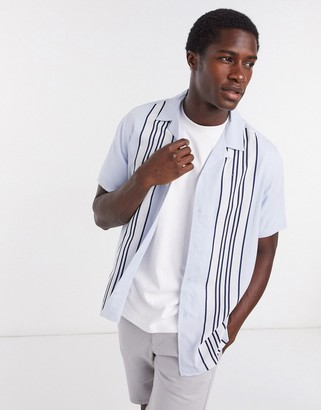 Topman short sleeve revere bowling shirt in light blue stripe
