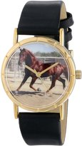 Whimsical Watches Kids' P0110030 Classic Quarter Horse Black Leather And Goldtone Photo Watch
