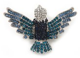 Avalaya Swarovski Crystal 'Flying Bird' Brooch In Rhodium Plated Metal - 5cm Length