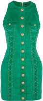 Balmain Lace-up Suede Mini Dress - Jade