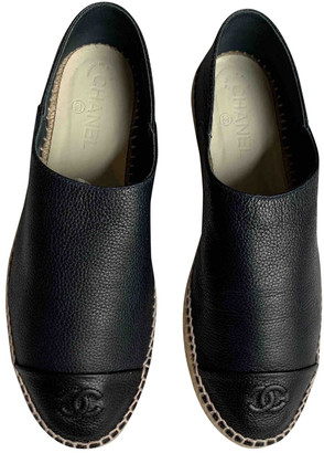 Chanel Navy Leather Espadrilles