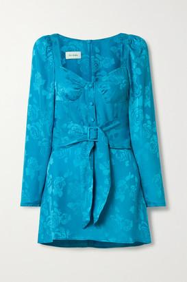 ART DEALER Belted Floral Satin-jacquard Mini Dress - Turquoise