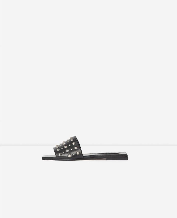 The Kooples Flat studded black leather sandals