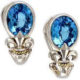 Effy Balissima by Blue Topaz Fleur de Lis Earrings in 18k Gold and Sterling Silver (5-3/8 ct. t.w.)