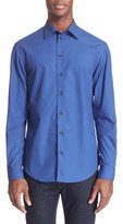 Armani Collezioni Men's Trim Fit Dobby Dot Sport Shirt