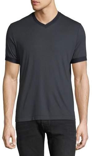 Giorgio Armani Men's Contrast-Trim V-Neck T-Shirt, Navy