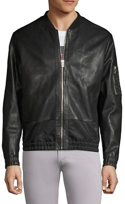 HUGO Larrson Slim-Fit Leather Bomber Jacket