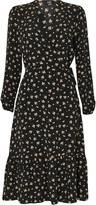 Wallis Black Floral Print Tiered Midi Wrap Dress
