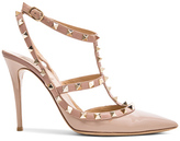 Valentino Rockstud Patent Leather Slingbacks T.100 in Neutrals.