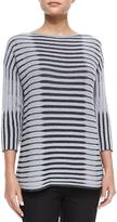 Lafayette 148 New York 3/4-Sleeve Bicolor Striped Jacquard Sweater