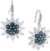 Carolee Silver-Tone Crystal Sunburst Drop Earrings