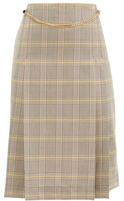 Victoria Beckham Belted Pleated Checked-wool High-rise Skirt - Grey
