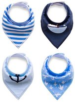 BabyPrice 12-Pack Super Absorbent Cotton Adjustable Baby Bandana Drool Bibs with Snaps, Unisex Baby Gift