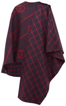 Gucci Gg-jacquard Wool-blend Cape - Womens - Navy Multi
