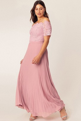 Oasis Pale Pink Lace Bardot Maxi Dress