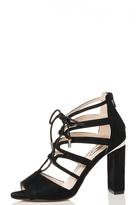 Quiz Black Faux Suede Lace Up Block Heel Sandals