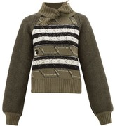 Ganni Tie-neck Fair Isle Wool-blend Sweater - Womens - Khaki