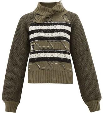 Ganni Tie-neck Fair Isle Wool-blend Sweater - Womens - Khaki