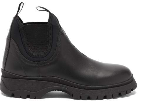 91050697 Raised Sole Leather Chelsea Boots - Womens - Black