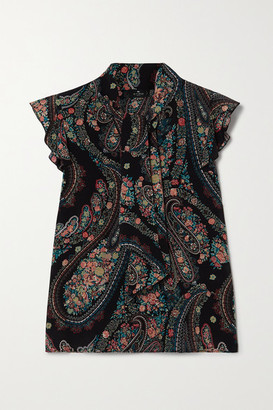 Etro Tie-detailed Ruffled Paisley-print Silk Crepe De Chine Blouse - Black