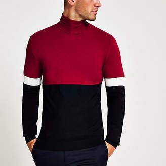 River Island Red colour block slim fit roll neck jumper