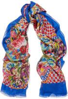 Dolce & Gabbana Printed Silk-chiffon Scarf - Blue