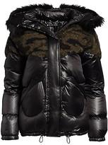 Thumbnail for your product : Blanc Noir Camo Faux Shearling & Faux Fur Puffer Coat