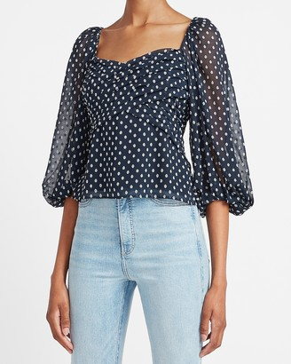 Express Clip Dot Balloon Sleeve Top