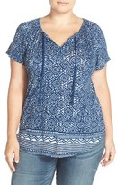 Lucky Brand Plus Size Women's Print Split Neck Top