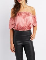 Charlotte Russe Tiered Off-The-Shoulder Crop Top
