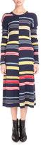 Kenzo Long-Sleeve Colorblock Stripe Midi Dress, Midnight Blue