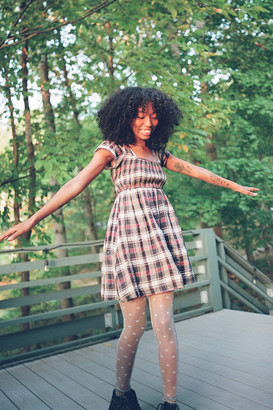 Urban Outfitters Simone Plaid Tie-Back Babydoll Dress