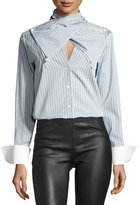 Palmer Harding palmer // harding Bow-Front Striped Long-Sleeve Poplin Shirt