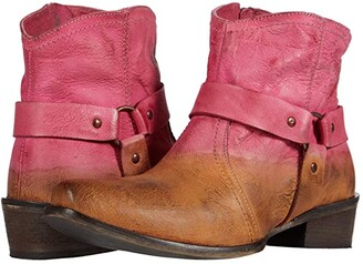 Roper Arizona (Tan Leather Vamp/Pink Dip-Dye Shaft) Cowboy Boots