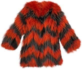 Saga Furs Orange Fox Coat for Women