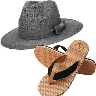 Aerusi Women's Coco Keys Year Round Floppy Straw Sun Hat and Foam Sandals Bundle Set Flip-Flop