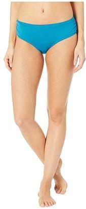 MICHAEL Michael Kors Iconic Solids Shirred Bikini Bottoms (Lux Teal) Women's Swimwear