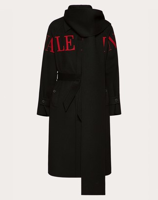 Valentino Uomo Intarsia Coat Man Black/ Red Virgin Wool 90%, Cashmere 10% 46