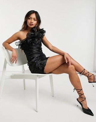 Forever U asymmetric ruffle mini dress in black organza