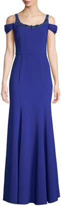 Marchesa Stretch Crepe Cold-Shoulder Embellished Gown