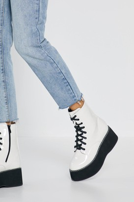 Nasty Gal Womens Move Up a Gear Platform Patent Boots - White