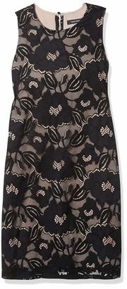 Nine West Women's Floral Lace Dress Black/Nude 14