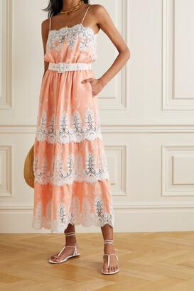 Miguelina Fatema Belted Crocheted Cotton And Linen Midi Dress - Orange