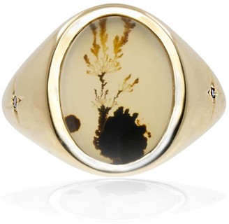 No 13 Agate & Diamond Vertical Signet Ring 9Ct Solid Gold